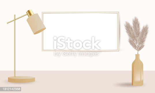 istock Podium and table lamp for product presentation in warm beige color, dried pampas grass and dried lagurus. Boho style decoration on the background of an empty wall. Vector illustration 1312142358