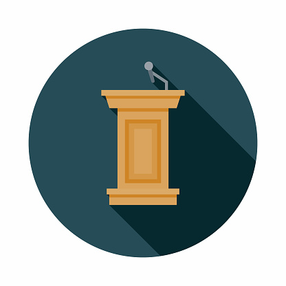 Podium Flat Design Elections Icon with Side Shadow
