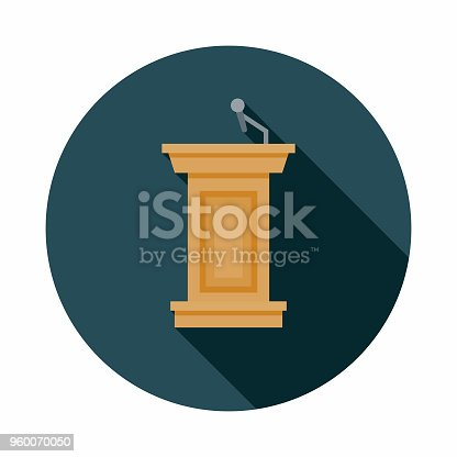 istock Podium Flat Design Elections Icon with Side Shadow 960070050