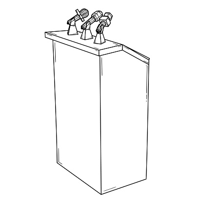 Podium For Political Speech With Microphones Stock