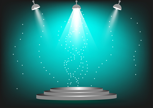 podium for show product or presentation with spotlight and sparkling green color background