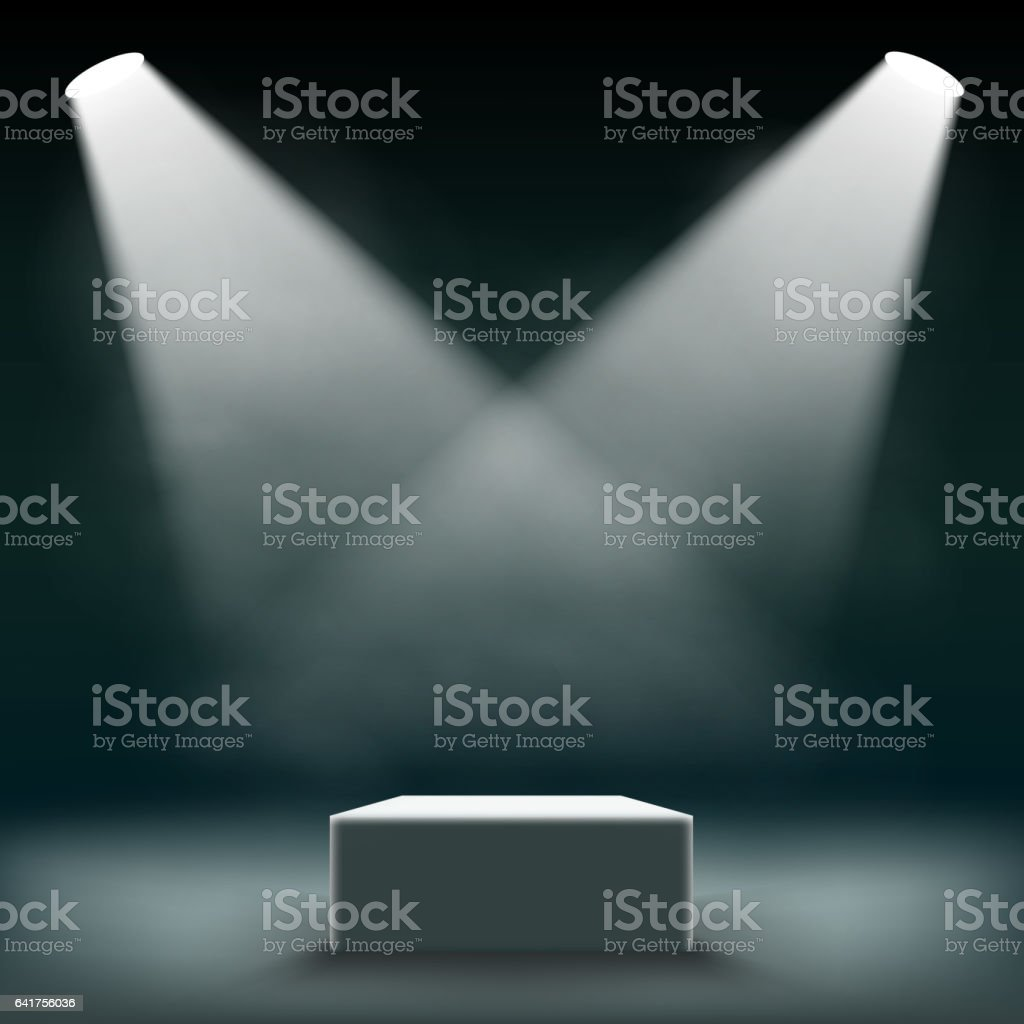 Podium for the exhibition and awards ceremony is illuminated by searchlights. vector art illustration