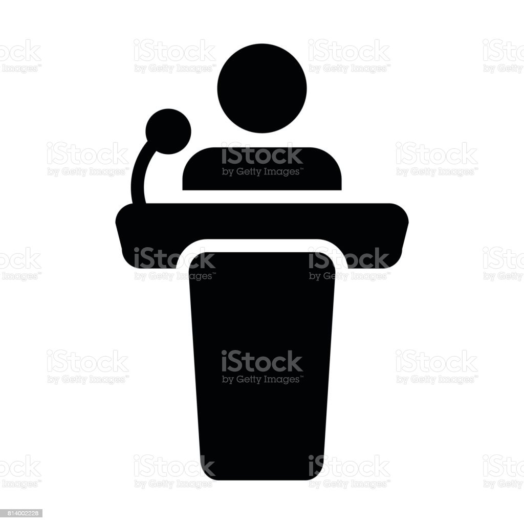 Podium icône Vector personne discours Public en glyphe pictogramme symbole - Illustration vectorielle
