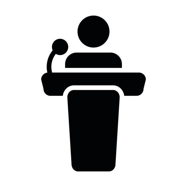 bildbanksillustrationer, clip art samt tecknat material och ikoner med podium ikonen vektor person offentligt anförande i protokollskåror piktogram symbol - speaker