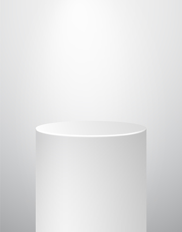 Podium Pedestal Museum Stage. Realistic Vector. Geometric Blank 3D Spotlight Stand. Cylinder Prism.