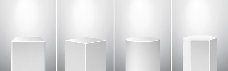 Podium Pedestal Museum Stage Set. Realistic Vector. Geometric Blank 3D Spotlight Stands. Cube, Rhombus, Cylinder, Hexagon Prism.
