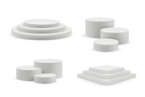 Podium realistic. Round and square empty stages and podium stairs vector 3d template