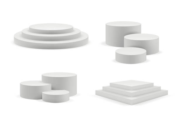 bildbanksillustrationer, clip art samt tecknat material och ikoner med podium realistisk. runda och kvadratiska tomma stadier och podium trappor vektor 3d mall - piedestal