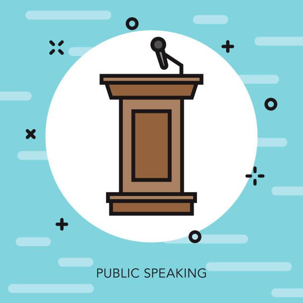 podium thin line election icon - thin line fonts stock illustrations