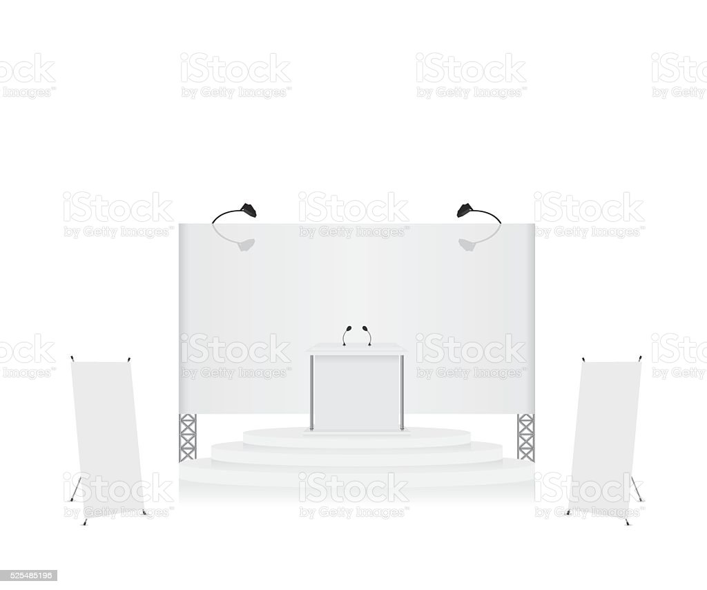 Podium trade exhibition stand and x-stand banner illustration vector art illustration