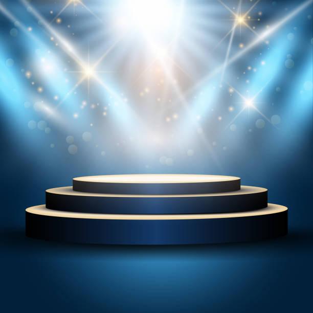 Podium under spotlights Illustration of an empty podium under spotlights stage light stock illustrations