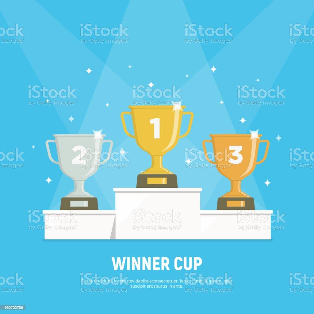 Podium winners. Gold, silver and bronze cups on podium. Vector illustration in flat style. - Grafika wektorowa royalty-free (Baza)