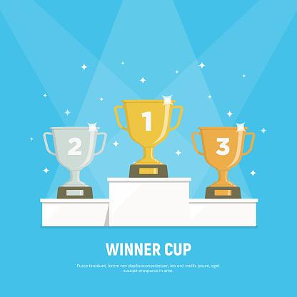 Podium Winners Gold Silver And Bronze Cups On Podium Vector Illustration In Flat Style - Stockowe grafiki wektorowe i więcej obrazów Baza