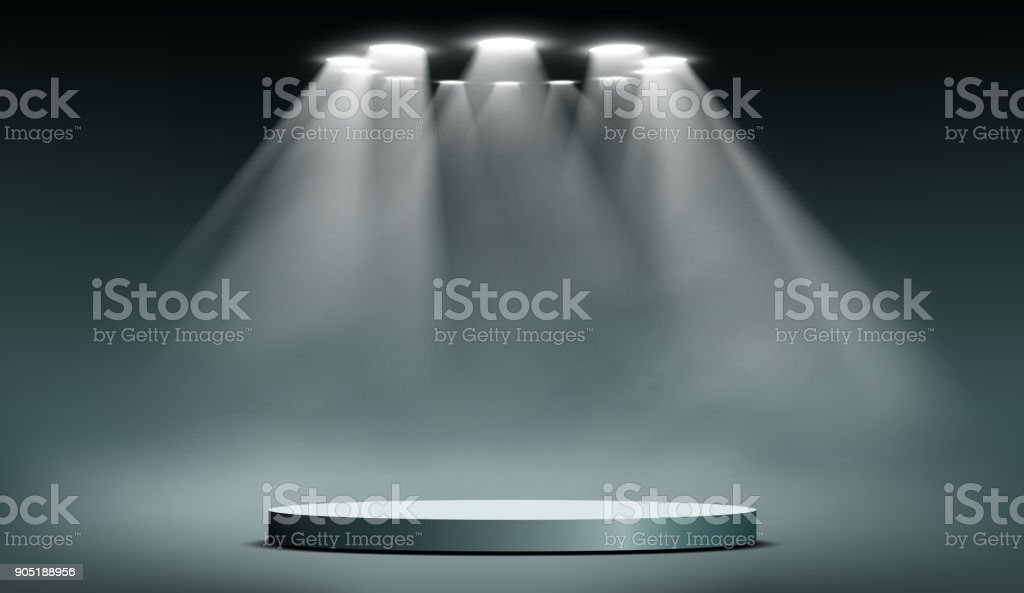 podium with searchlights