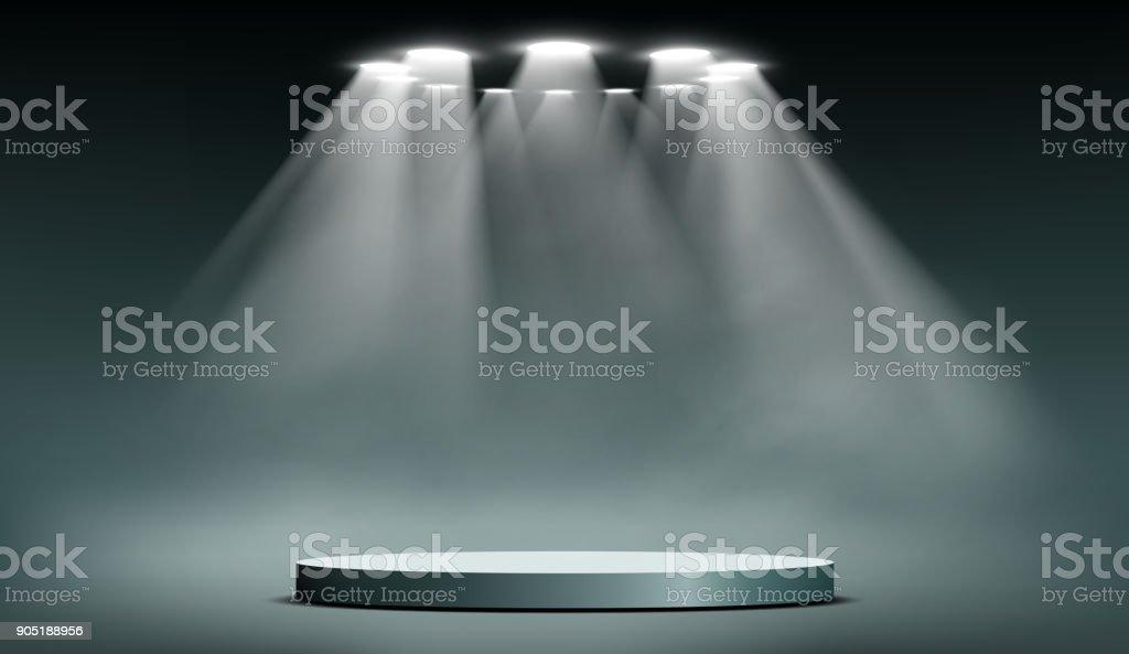 podium with searchlights vector art illustration