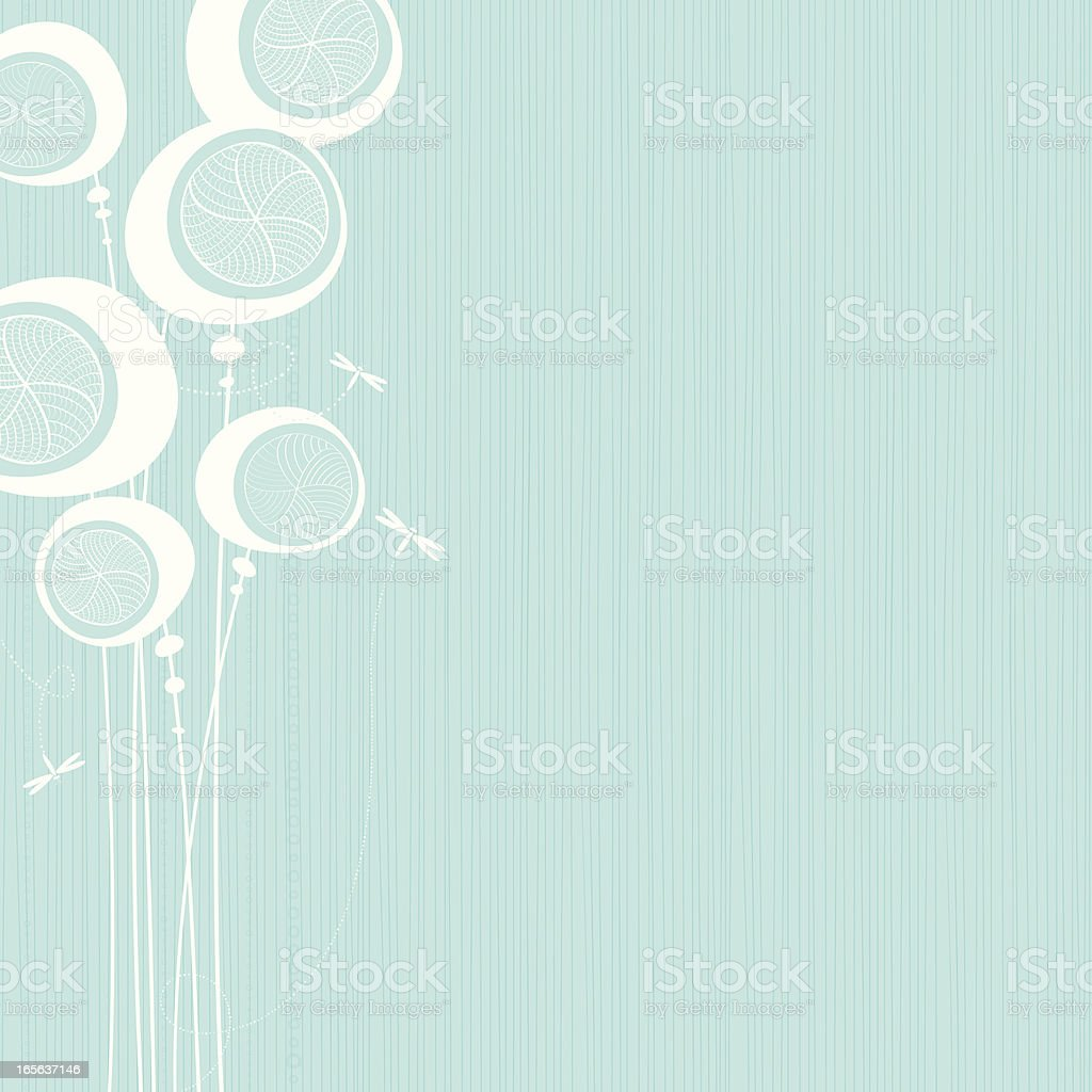 Pods Teal background with white silhouette of pod shaped plants and flying insects. Backgrounds stock vector