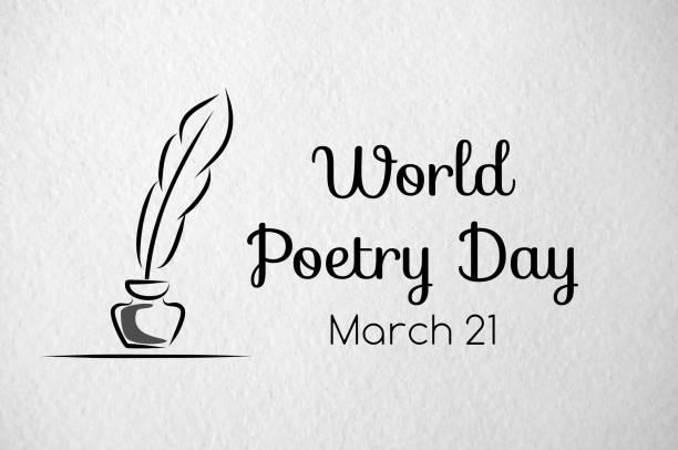 ilustrações de stock, clip art, desenhos animados e ícones de poetry day greeting banner. paper texture - tinteiro
