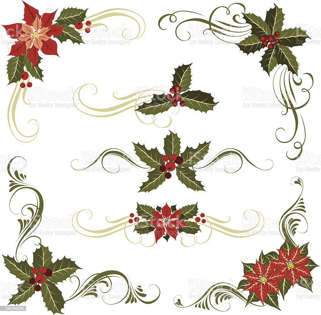 Poinsettia and holly  ornament royalty-free stock vector art