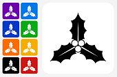 Poinsettia Icon Square Button Set