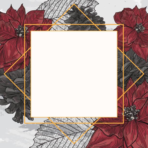 Poinsettia Pinecone Christmas or Winter Frame vector art illustration