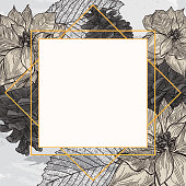 A modern Christmas or winter themed frame filled with poinsettias, pinecones and leaves on a watercolour background.