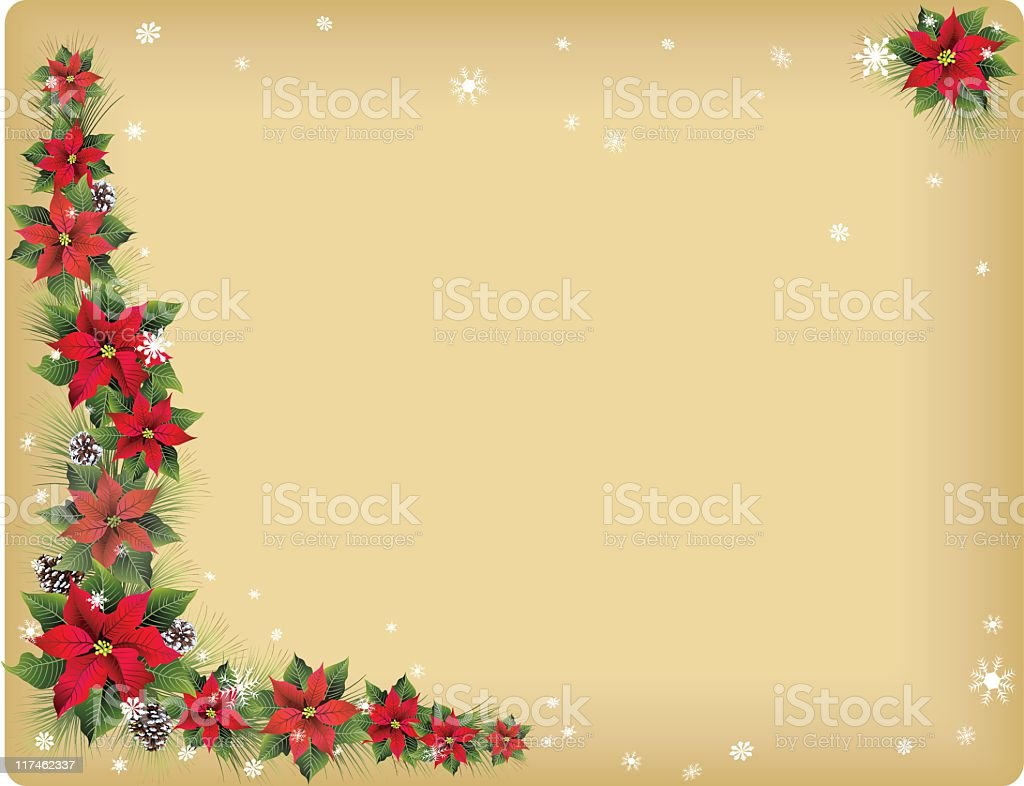 Poinsettias on Parchment royalty-free stock vector art