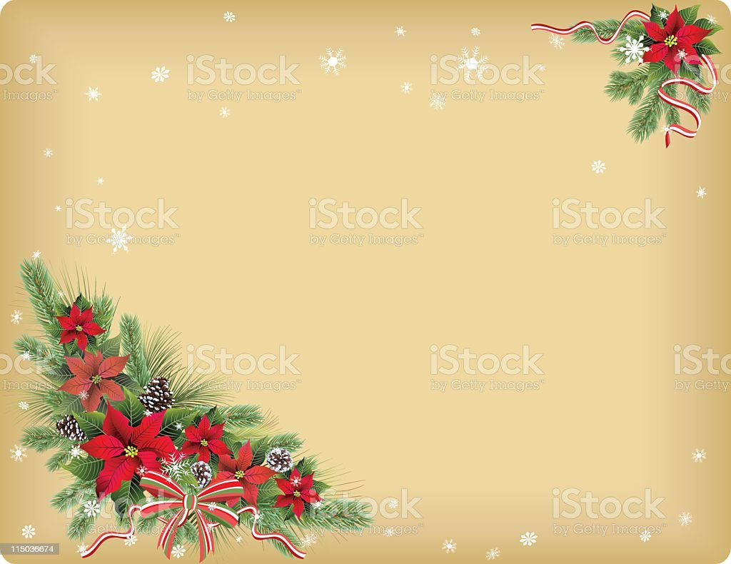 Poinsettias & Striped Ribbon royalty-free stock vector art