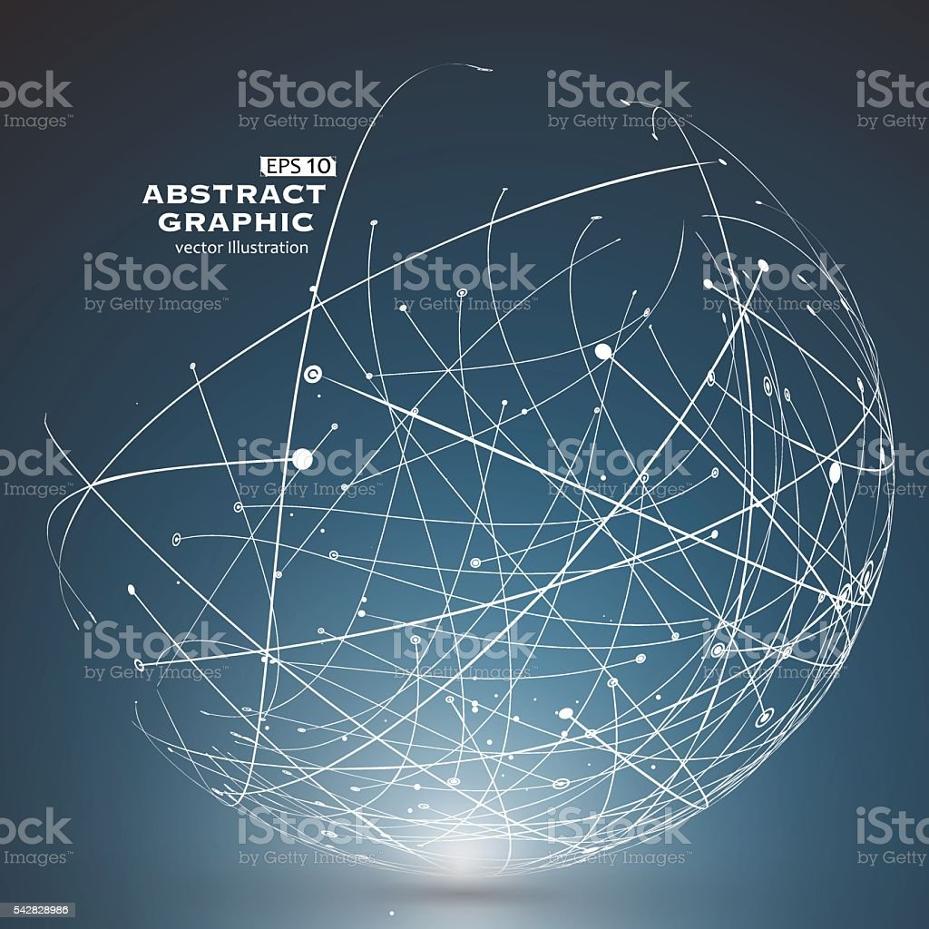 Point and curve constructed the sphere wireframe, technological sense. vector art illustration