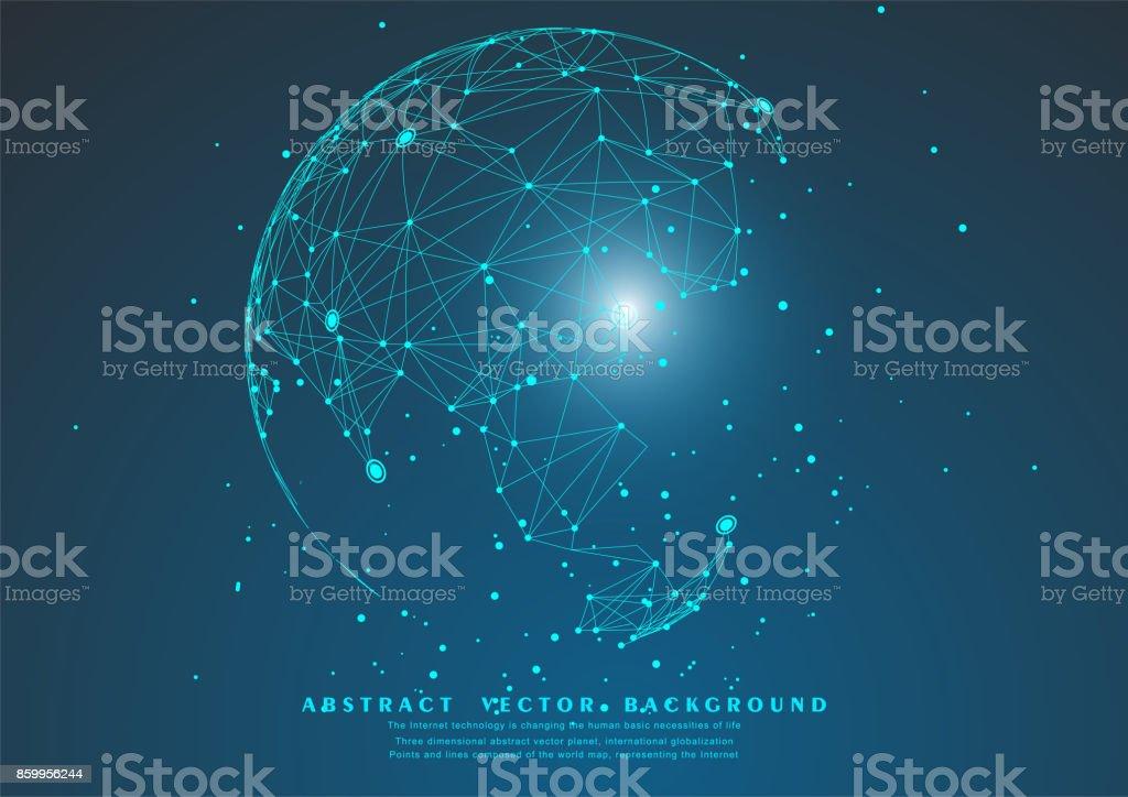 ponto e linha compuseram o mapa do mundo, que representa a conexão de rede global, Global, significado internacional. - ilustração de arte em vetor