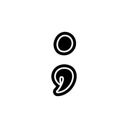 Point comma semicolon font decorative hand drawn lettering, vector.