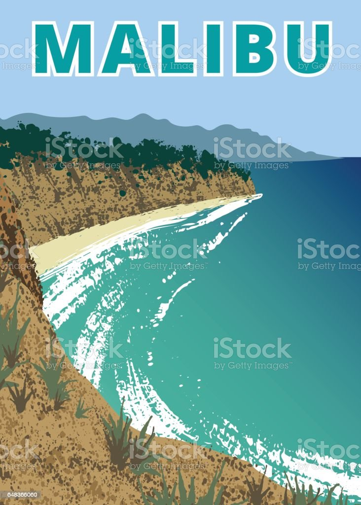 Point Dume Natural Preserve vector art illustration