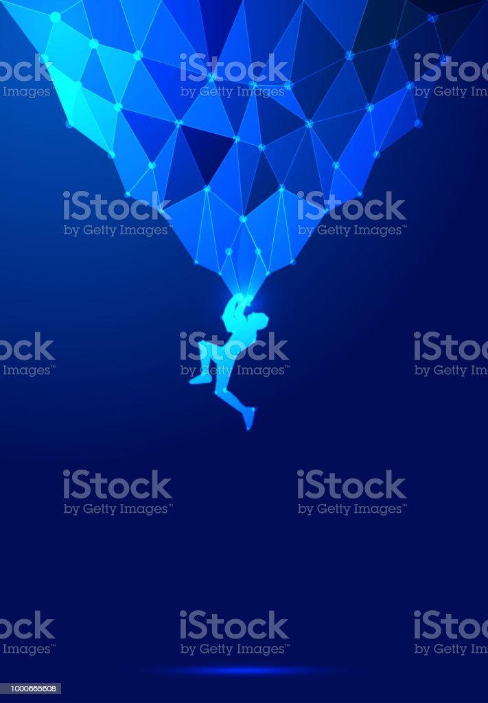 Point line composition rock climbing vector illustration, dark blue abstract background   of science and technology vector art illustration