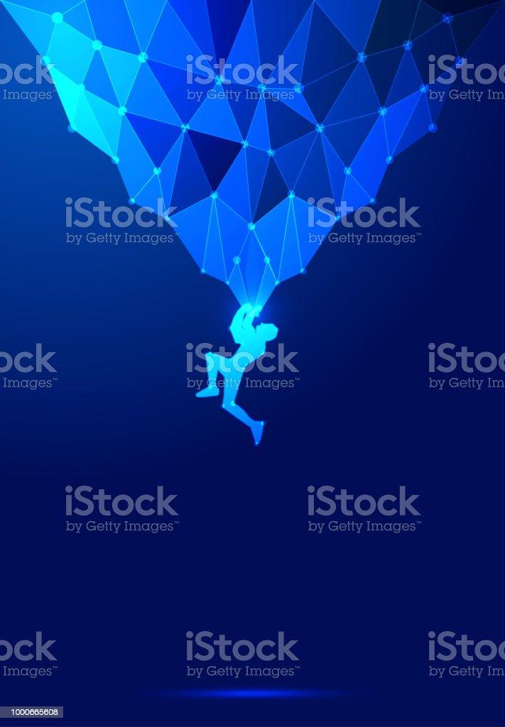 ポイント ライン構成岩登山ベクトル図、科学技術の暗い青色の抽象的な背景 ベクターアートイラスト