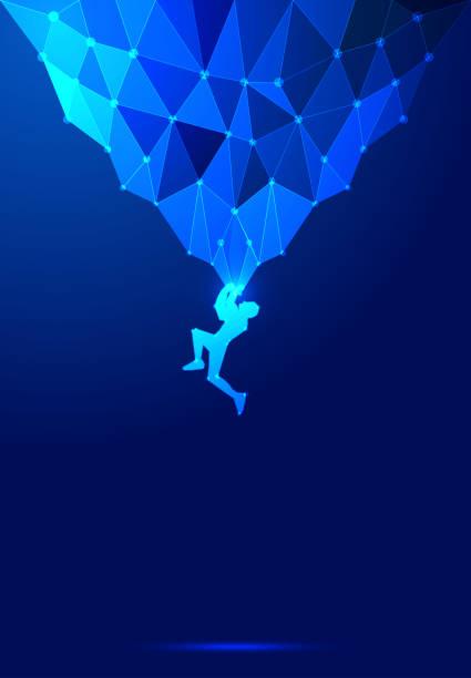 ポイント ライン構成岩登山ベクトル図、科学技術の暗い青色の抽象的な背景 - ロッククライミング点のイラスト素材/クリップアート素材/マンガ素材/アイコン素材