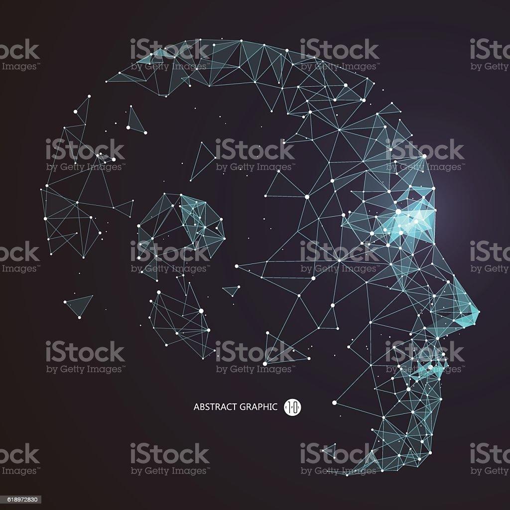 Point, Line connection from the head contour,vector illustration. ilustración de point line connection from the head contourvector illustration y más vectores libres de derechos de abstracto libre de derechos