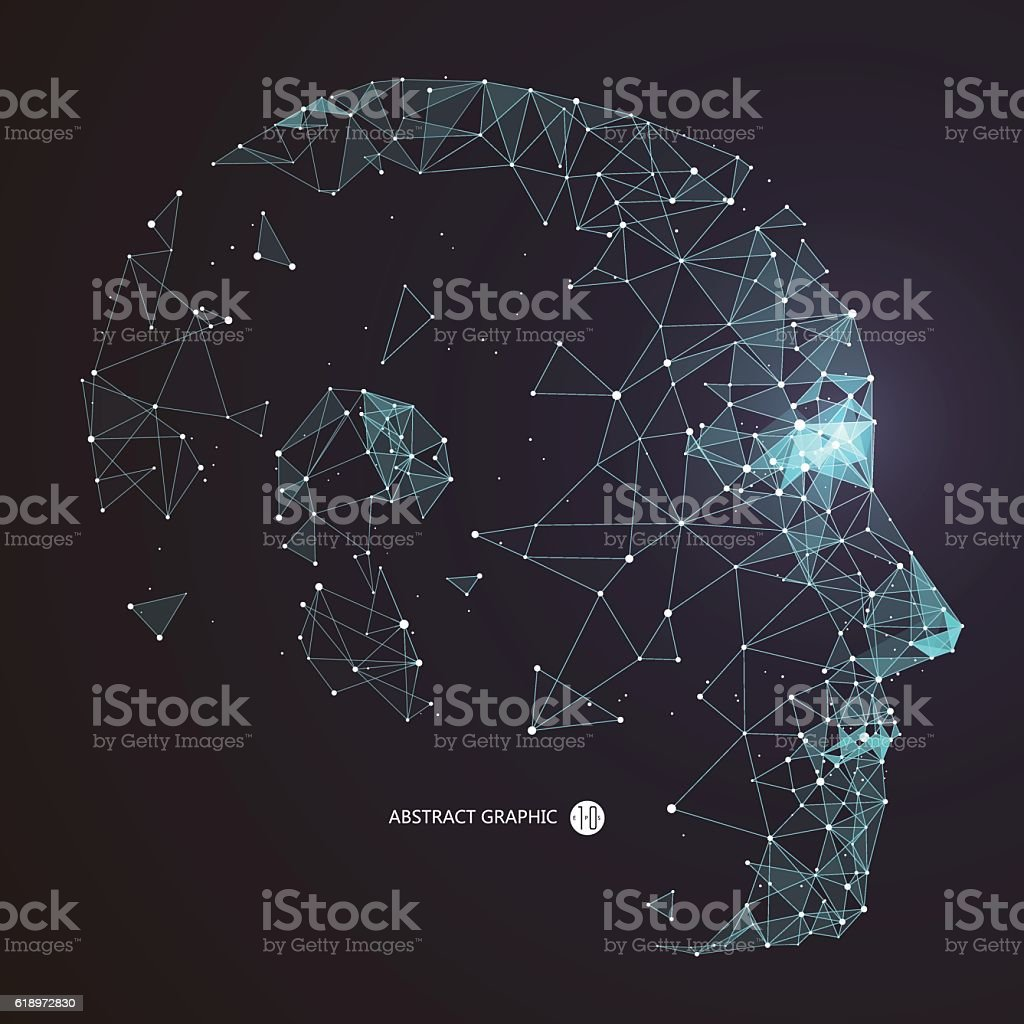 Point, Line connection from the head contour,vector illustration. - Illustration vectorielle