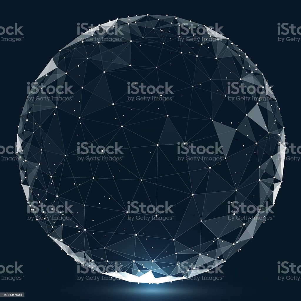Point, line, surface composed of circular graphics, Global network connection. vector art illustration