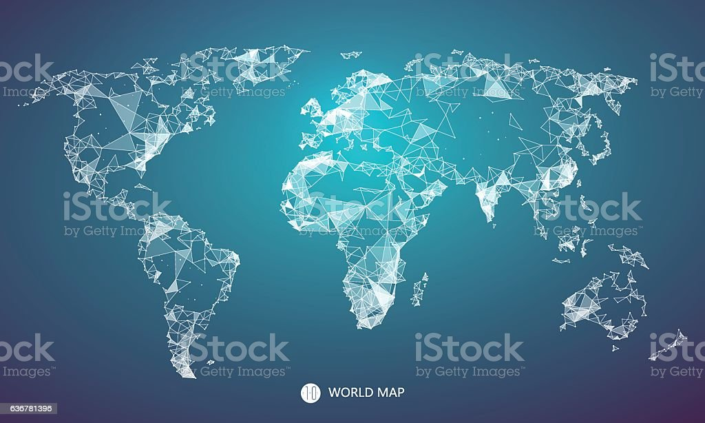 Point, line, surface composition of the world map. vector art illustration