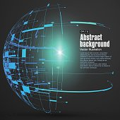 Point, line, surface formed wireframe sphere, science and technology abstract illustration.