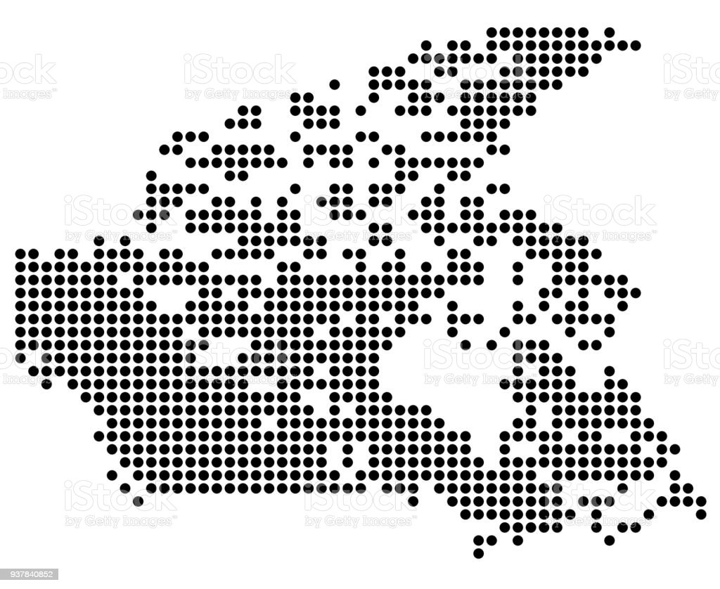 Point map of Canada vector art illustration