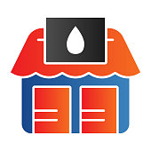 Point of fuel products sale line icon. Store selling gas, house with drop on signboard. Oil industry vector design concept, outline style pictogram on white background