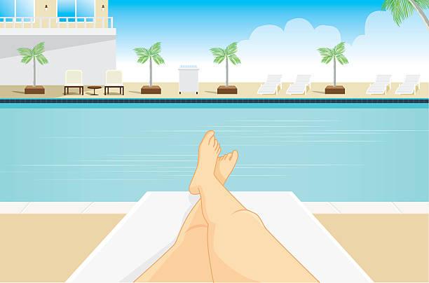 point view von frau, sonnenbaden. - möbelfüße stock-grafiken, -clipart, -cartoons und -symbole