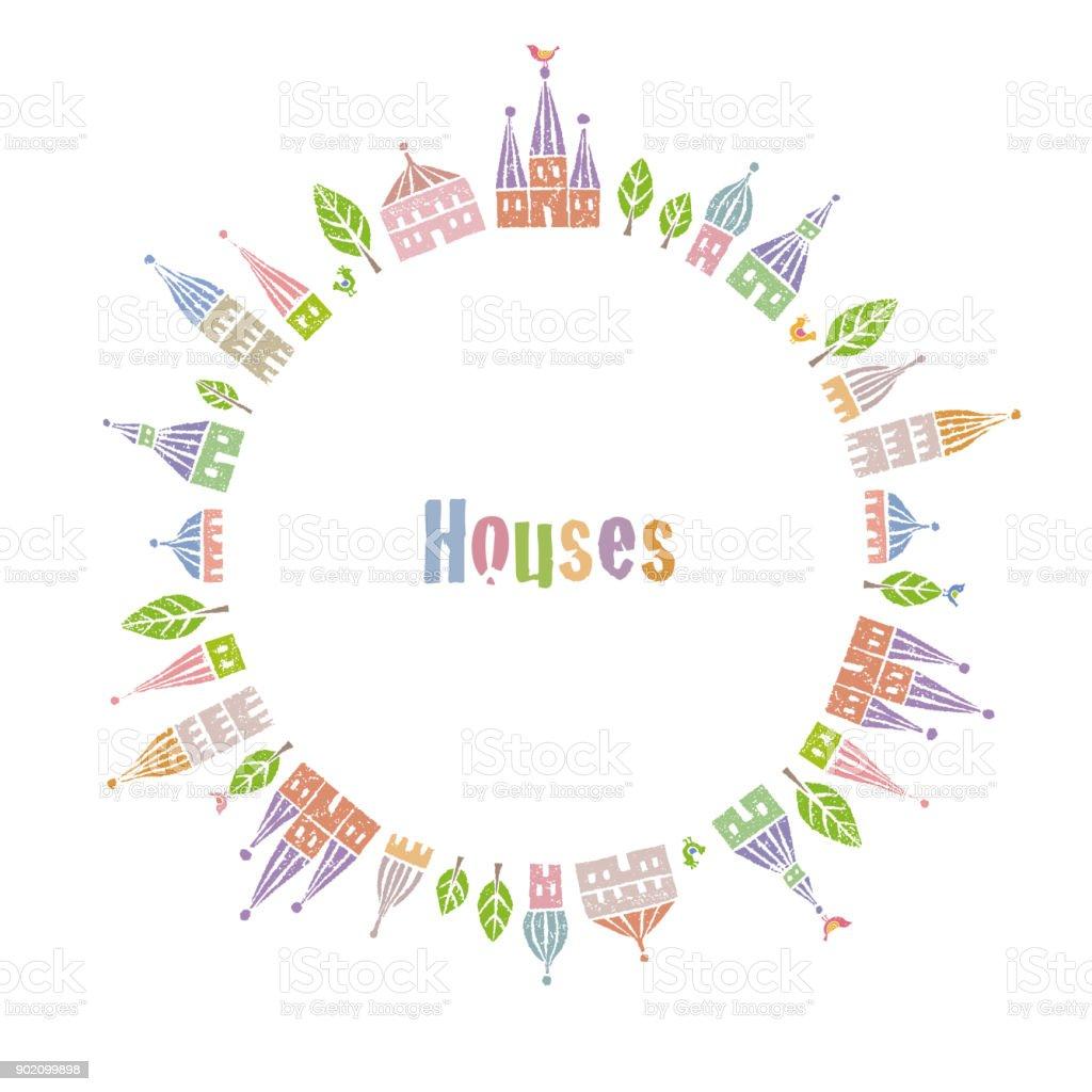 輪の中に立っている先のとがった屋根のかわいい家 アベニューの