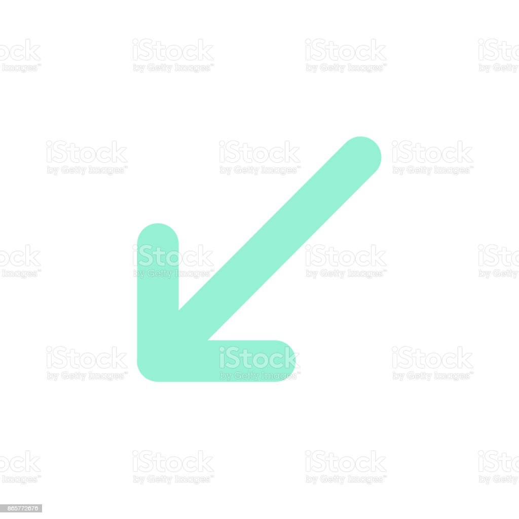 Pointer, arrow in modern flat style. Arrow button isolated on white background. Symbol for web design, site, app, UI. vector art illustration