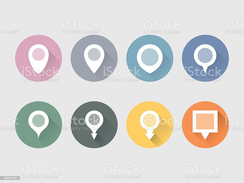 Pointer Flat Icons Set on Circle Shape vector art illustration