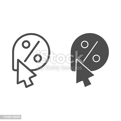 istock Pointer for sale line and glyph icon. Discounts pointer vector illustration isolated on white. Sale mark outline style design, designed for web and app. Eps 10. 1209519000