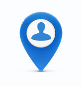 Vector illustration of glossy blue map location pointer icon with man silhouette