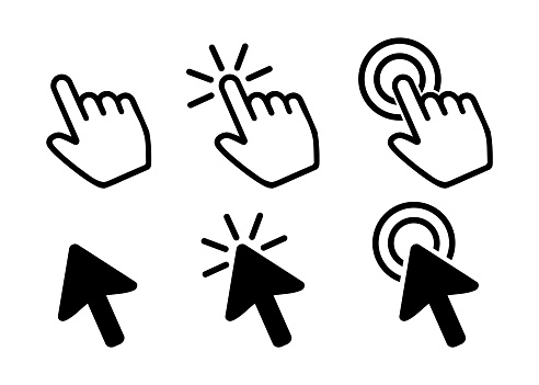 Pointer Icons, Hand and Arrow Vectors