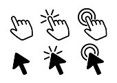 istock Pointer Icons, Hand and Arrow Vectors 1244030313