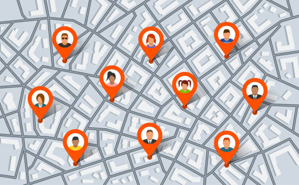 Pointer pins on city map with people. Vector illustration in flat style vector art illustration